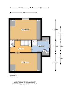 Floor plan second floor, Plantsoenlaan 17, Bloemendaal. Overloop, slaapkamer aan de voorzijde met extra geplaatste dakramen en entresol, slaapkamer aan de achterzijde met dakraam, 2e badkamer (2015) met inloopdouche en moderne wasmeubel en de wasmachineaansluiting, via een vaste trap op de overloop toegang tot de bergvliering.