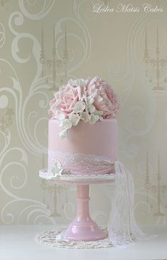 Peony, Roses and Freesias on a pretty pink cake with lace tie - Leslea Matsis Cakes...beautiful girl cake