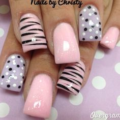pink, purple, black, and white with zebra and polkadots nail art design