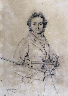 Niccolò Paganini par Ingres en 1819.