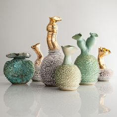 New unique hand thrown Accretion vases with porcelain slip. Designed and made by the Haas Brothers