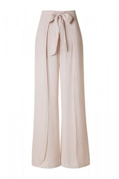 Layered Front High Waist with Tie Lightweight Palazzo Pants - Beige