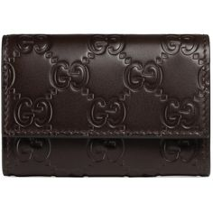 Gucci Gucci Signature Leather Key Case (760 BRL) ❤ liked on Polyvore featuring men's fashion, men's accessories, men's key rings, accessories, brown, wallets & small accessories, women and mens leather accessories