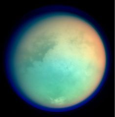 A molecule detected in Titan's atmosphere could mean that methane-based life exists in Titan's oceans. This image shows Titan in ultraviolet and infrared wavelengths. Red and green colors indicate where atmospheric methane is absorbing light, while the blue color shows the upper atmospheric haze. NASA researchers have confirmed the existence in Titan's atmosphere of vinyl cyanide, which is an organic compound that could potentially provide the cellular membranes for microbial life on Titan.