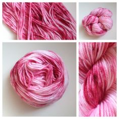 These yarn babies look like candy! Color(s): pink with shades of red (I use only professional grade acid dyes) Fiber(s): superwash merino Weight: DKLength/yardage: 136 yardsCare instructions: machine washable, lay flat to dryWhy buy hand dyed yarn vs craft store yarn