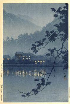 Evening at Yumoto Hot Springs, Nikko  by Kawase Hasui, 1937  (published by Watanabe Shozaburo)
