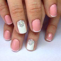 Delicate french manicure, French manicure, French manicure ideas, French manicure with rhinestones, Nails with rhinestones ideas, ring finger nails, Short french manicure, Swarovski nails