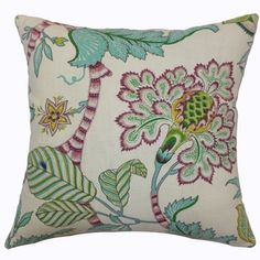 Colors: Elodie Teal Floral Down Filled Throw Pillow