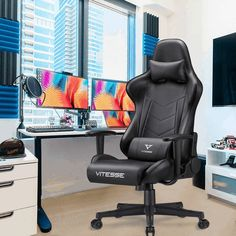 Wide gaming chairs for the big person. Great for the office too! Comfortable and stylish. 300 lb and 400 lb weight capacity. Office Gaming Chair, Computer Desk Chair, Office Chairs, Office Furniture, Pc Racing Games, Swivel Chair, Decks, Outdoor Chairs, Outdoor Living