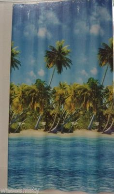 Tropical Aloha Hawaii Beach Ocean Shore Green Palm Tree Blue Bath Shower Curtain | eBay