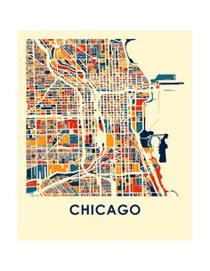 Chicago Map Print Full Color Map Poster by iLikeMaps on Etsy