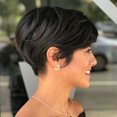 Short Tapered Pixie For Thick Hair Thick Hair Pixie, Short Hairstyles For Thick Hair, Short Brown Hair, Very Short Hair, Short Straight Hair, Haircut For Thick Hair, Short Hair Cuts, Curly Hair Styles, Pixie Cut
