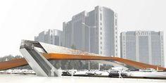 Car-Powered Bridges: The Cross-Wind Bridge Creates Power from Auto Speeds Below Bridge Structure, Landscape Structure, Bridge Design, Gate Design, Origami Architecture, Architecture Design, Sustainable City, Concrete Stairs, Pedestrian Bridge