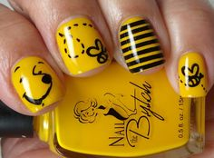 These cute bee nails are just perfect for spring! If you like the combination of black and yellow, that makes you look a bit dangerous, or cute little bee paintings on your fingernails, then these nail designs are great for you. Show people around you your true nature with these, show them you're not afraid to sting! These nails were painted by various girls from around the world. Check them out!