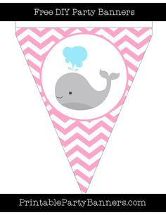 Carnation Pink and White Pennant Chevron Left Whale