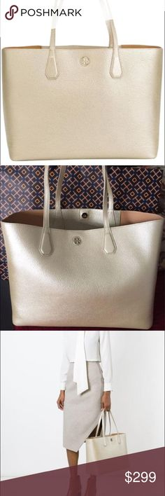 """Tory Burch Perry Metallic Sold Gold/cafe Tote Bag Holds a 15"""" laptop, a pair of flats, a sweater, a continental wallet, a notebook, an agenda, sunglasses, an iPhone 6 Plus and a fragrance rollerball  Pebbled leather with resin backing  Flat leather handles with 9.4"""" (24 cm) drop  1 interior hanging pocket with 2 open pockets  Height: 11.3"""" (28.5 cm)  Length: 14.9"""" (37.5 cm)  Depth: 5.9"""" (15 cm) Tory Burch Bags Totes"""