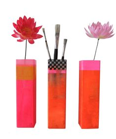 Pink and orange flower vases by kira-cph.com