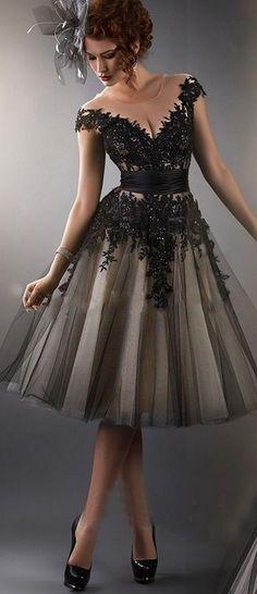 Cocktail Dress,Sexy Cocktail Dress,Tulle Cocktail Dress,Applique Cocktail Dress, Black Cocktail Dress,V-Neck Cocktail Dress,A-Line Cocktail Dress
