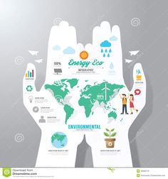 Infographic Template with hand paper banner . eco concept vector