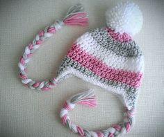 Baby Girl Hat Pom Pom Ear Flap Hat Fall by CutestlittleThing, $25.00