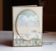 Lovely Easter Card from Designer @Lesley Langdon and #GlueArts Adhesives