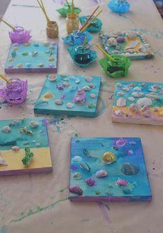 Liquid Watercolor, Watercolors, Collages, Wood Crafts, Sea Shells, Birth, Kids, Water Colors, Seashells
