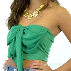 #emerald #green #bow #top #chiffon #tube