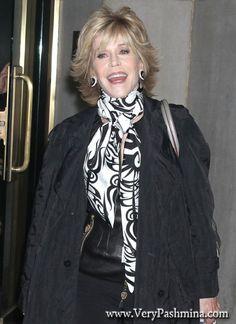 #JaneFonda Wears An Ornate Black And White #Scarf To NBC Studios