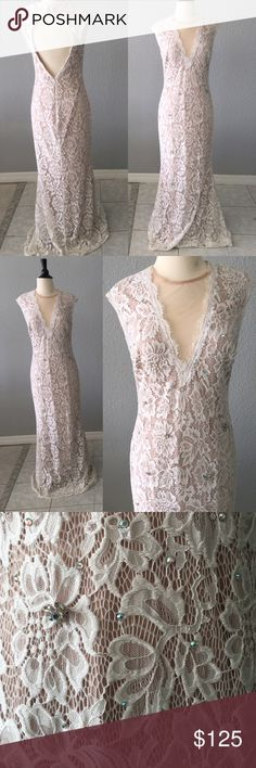Formal Backless Lace Maxi Dress By Aqua Dresses In great condition! Worn once. Listed as a size 10. Measurements are taken while garment is laid flat and are as follows: chest 17.5 inches, waist 14 inches, hip 18 inches, length 59 inches. Aqua Dresses Prom
