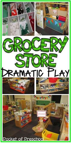 Grocery Store Unit Plan: How to set up your center, props you can make, and easy ways to integrate math and literacy. Pocket of Preschool