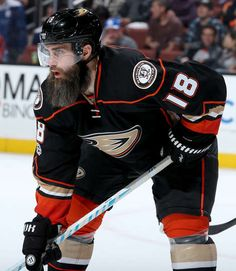 Patrick Eaves 18 of the Anaheim Ducks gets into position during the game against the Toronto Maple Leafs Ducks Hockey, Ice Hockey, Nhl 2016, Nhl Players, Anaheim Ducks, Toronto Maple Leafs, Skates, Man, Sassy