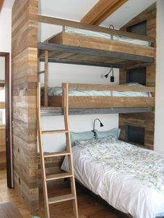"""40 Cute Triple Bunk Bed Design Ideas For Kids Rooms To Have - Many of us who grew up in the """"old days"""" have very fond memories of life in bunk beds. Whether you shared your room with your brother or sister or fir. Cool Loft Beds, Bunk Beds For Boys Room, Loft Bunk Beds, Modern Bunk Beds, Bunk Beds With Stairs, Bunk Rooms, Kid Beds, Bedrooms, Loft Spaces"""