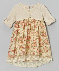 Look at this #zulilyfind! Beige Floral Henley Babydoll Dress - Toddler #zulilyfinds