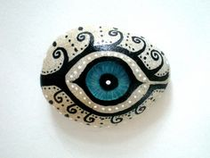 Mystic Evil Eye Painted Stone handpainted healing by ShebboDesign Art