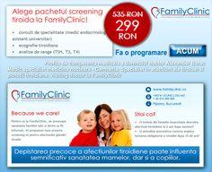 "PROMOTIE: ""Pachetul Screening Tiroida"" la FamilyClinic, la pretul de 299 RON (de la 535 RON)!   •consult de specialitate (medic endocrinolog asistent universitar)   •ecografie tiroidiana   •analize de sange (TSH, T3, T4)   PROGRAMEAZA-TE ACUM: http://www.familyclinic.ro/screening-tiroida/ sau la numerele de telefon: 0741 254 842 si 0374 200 300"