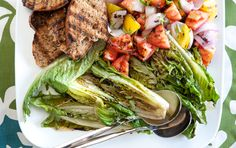 Grilled Tomato and Romaine Salad (would serve it with chickpea burger, stuffed pepper, or rice)