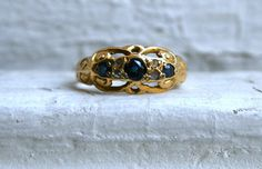 British Antique 18K Yellow Gold Diamond and Sapphire by GoldAdore