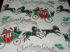 VTG CHRISTMAS WRAPPING PAPER GIFT WRAP MID CENTURY CHRISTMAS STAGECOACH