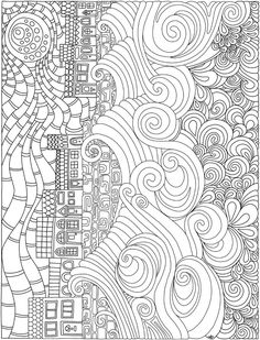 Printable Coloring page ocean sea houses beach by Dover Publications