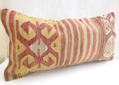 Hand embroidered Kilim Lumbar Ethnic Bolster by PillowTalkOnEtsy, $48.00