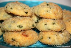 Jalapeno Bites. 1 (8 oz) package softened cream cheese, 8 oz fresh grated Parmesan (about 2 cups), 4 T seeded and chopped jalapenos, 1 large beaten egg, 3 c dry plain breadcrumbs, 350 degrees / 10-15 minutes.