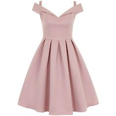 **Chi Chi London bardot midi dress ($95) ❤ liked on Polyvore featuring dresses, rose gold, pink midi dress, pink dress, mid calf dresses, calf length dresses and midi dress