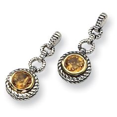 Each post earring has a round citrine gemstone set in antiqued sterling silver and yellow gold accents. Peridot Earrings, Sterling Silver Earrings, Dangle Earrings, Citrine Gemstone, Gold Accents, Bracelet Watch, Dangles, Jewels, Gemstones