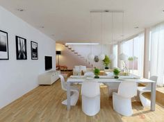 Open space living room designs with dining room