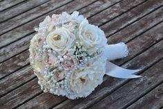 weddingstuffyouwant.unlimitedproductsolutions.com Ivory & Blush Peony Bridal Bouquet Silk Wedding by MyDayBouquet, $125.00