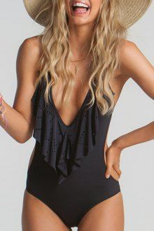 Plunging Neck Flouncing One-Piece #Swimwear