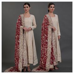 A coming together of two iconic thread arts : Parsi Gara heritage needlework meets Chikankari needlecraft of Lucknow luxury Nikkah Dress, Pakistani Formal Dresses, Pakistani Dress Design, Pakistani Outfits, Indian Dresses, Indian Outfits, Desi Clothes, Indian Clothes, Indian Designer Outfits