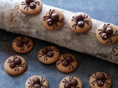 Get Spooky Peanut Butter Spider Cookies Recipe from Food Network