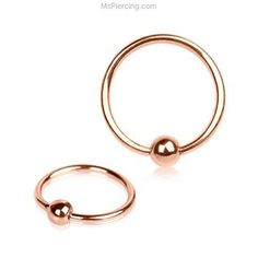 16G Rose Gold Tone Captive Bead Ring #mspiercing #piercings