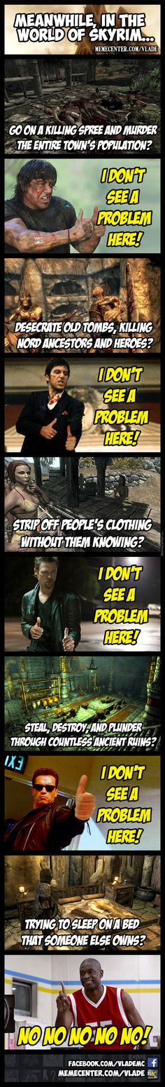 The logic of Skyrim. Video Game Logic, Video Games Funny, Funny Games, Gamer Humor, Gaming Memes, King's Quest, Skyrim Funny, Elder Scrolls Skyrim, Nerd